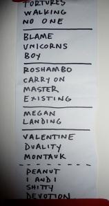 Bayside's setlist