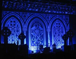 The cathedral-themed stage as the lights were restored